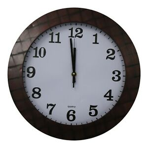 35cm-Large-Round-Wall-Clock-With-Quartz-Movement-Mahogany-amp-Criss-Cross