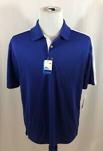 Grandslam-Airflow-Men-039-s-Large-Blue-White-Short-Sleeve-Polo-Shirt-New-With-Tags