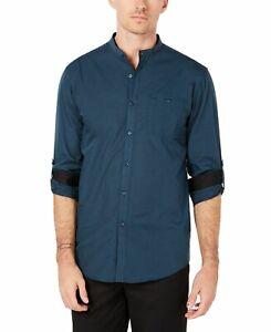 INC-NEW-Peacock-Blue-Mens-US-Size-2XL-Banded-Collar-Button-Up-Shirt-49-115