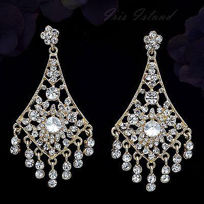 18K Gold Plated GP Clear Crystal Wedding Chandelier Drop Dangle Earrings 00263