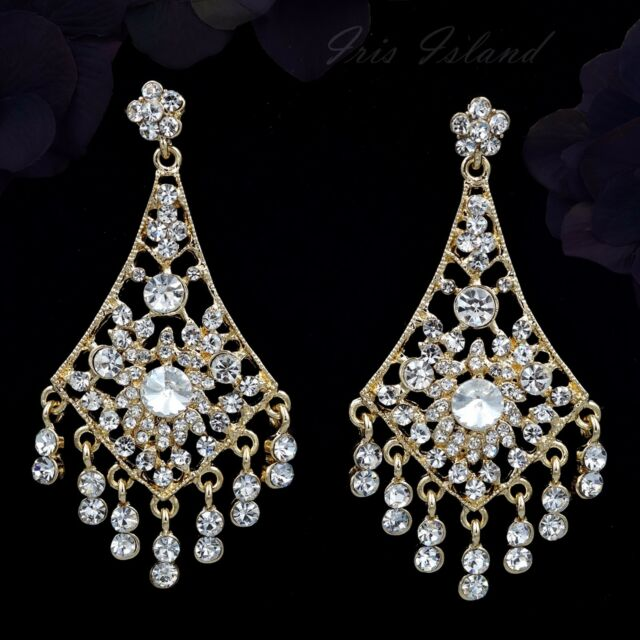 18K Gold Plated GP Clear Crystal Wedding Chandelier Drop Dangle Earrings 00263