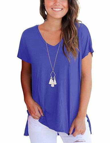 Damen T-Shirt Kurzarm T Shirts Longshirt Longtop Bluse Tops Oberteil Übergroße