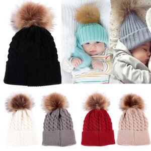 4d60cb78ca4 Newborn Baby Kid Boy Girl Warm Knit Beanie Hat Fur Pom Beret Crochet ...
