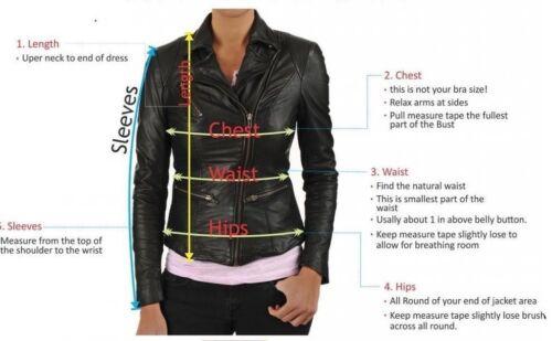 Women Black Lambskin Leather Jacket Biker Motorcycle Vest Size S M L XL XXL W47