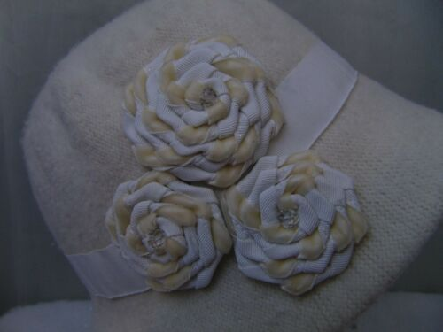 Nine West Wool Blend Knit Microbrim Cloche Hat w// Velvet Rosette Flower Ivory