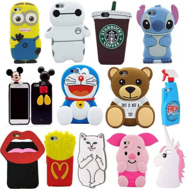 New 3D Cute Cartoon Soft Silicone Back Rubber Cover Case For iPhone 5S 6/6 Plus