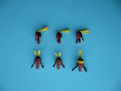 Waren Jeder Beschreibung Sind VerfüGbar Gelb Schöner Federschmuck Timpo 6 Indianer Köpfe Mit Federn / Doppelfedern