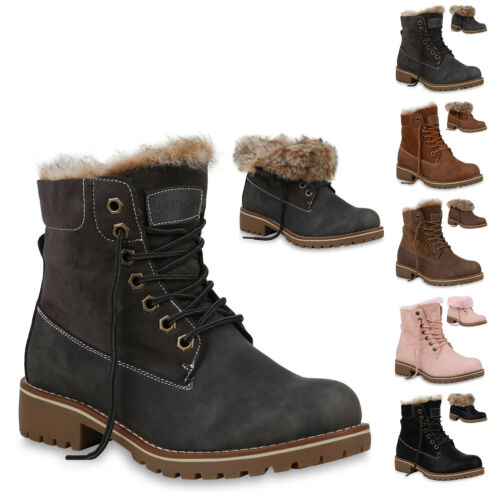 893966 Damen Stiefeletten Worker Boots Warm Gefütterte Outdoor Schuhe New Look