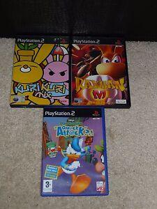3-X-Sony-Playstation-2-Bundle-Kuri-Kuri-RAYMAN-M-Donald-Duck-Quack-Attack