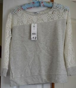 Women-039-s-Ladies-pale-grey-and-lace-top-size-8-New-with-tags