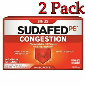 Image is loading Sudafed-PE-Congestion-10mg-Tablets-36ct-2-Pack-