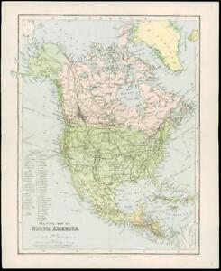 Map Of Canada 1900.Details About 1900 Original Antique Colour Map Political Map Of North America Canada 27