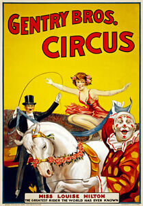 TZ70-Vintage-Gentry-Bros-Horse-Rider-Clown-Circus-Carnival-Poster-Re-Print-A4