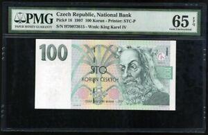 CZECH-REPUBLIC-100-KORUN-1997-P-18-GEM-UNC-PMG-65-EPQ