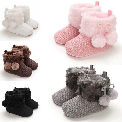 Winter Snow Booties Pom Boots Faux Fur Newborn Baby Pram Shoes Boy Girl