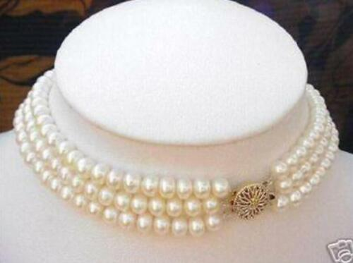 Real Pearl 3 Strand 7-8MM White Pearl Choker Necklace