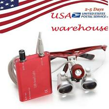 【FROM USA】3.5x420mm Dental Surgical Binocular Loupe Magnifier + Head Light Red