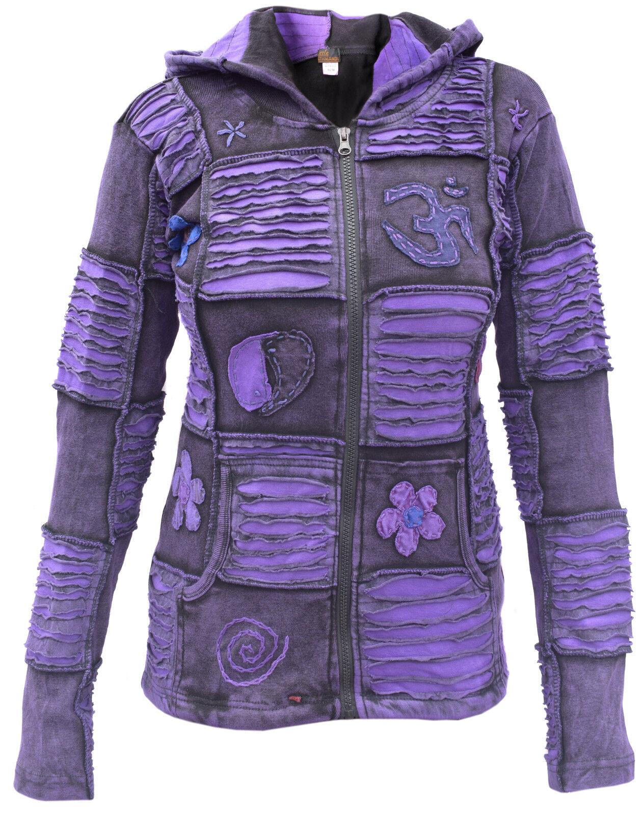 Cotton Jacket Stonewash Hippie Boho Gothic Emo Funky Patchwork Pixie Zip Hoodie