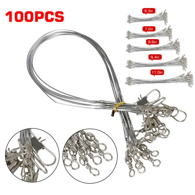 10 x Stainless Steel Trace Wire Leader Fishing Lines Leaders With Snap /& Swivel