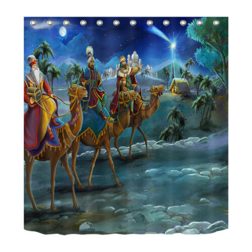 Nativity of Jesus Night King Bathroom Decor Shower Curtain /& Hooks Waterproof