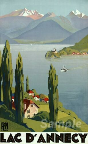 VINTAGE LAKE ANNECY FRANCE TRAVEL A4 POSTER PRINT