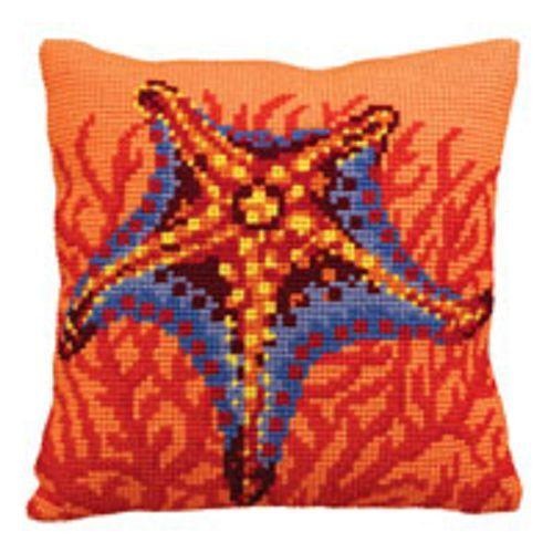Collection D/'Art Cross Stitch Cushion Kit Orange Starfish CD5147