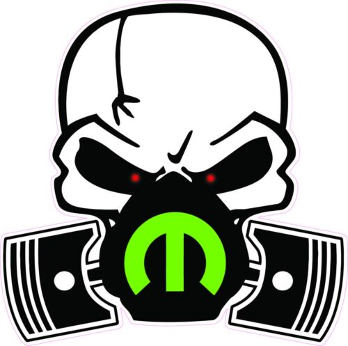 """Skull Mask Mopar Green Large Decal 10/"""" in size Free Shipping"""
