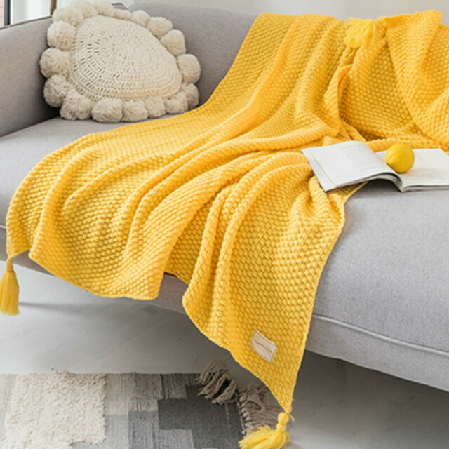 Knitted Blanket Tassel Fringe Bed Sofa Couch Throw Pom Pom Warm Winter Soft Cosy