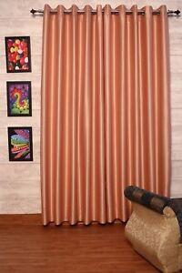 Dark Peach Faux Silk Dupioni Curtains 130 Cm Wide Chose Top Length