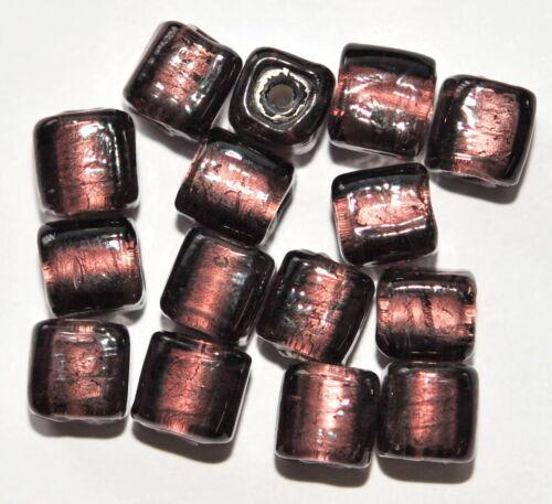 15 SILBERFOLIE GLASPERLEN WÜRFEL 8 MM LILA AH13-10