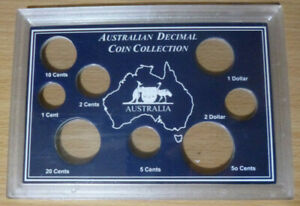 AUSTRALIAN-Empty-DECIMAL-COIN-COLLECTION-Hard-Plastic-CASE-1c-2-Holds-8-Coins