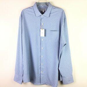 Peter Millar Men's Summer Comfort L/S Button Down Blue White Check Shirt XL NWT
