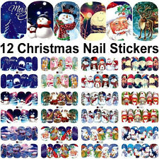 12 Sheets DIY Christmas water transfer nail art decoration stickers decals Xmas