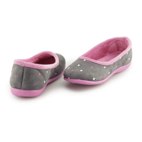 Sleepers ISLA Ladies Womens Memory Foam Slip On Comfy Full Slippers Grey//Fuchsia