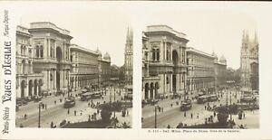 Italia Milan Place Del Dôme , Foto Stereo Vintage Analogica PL62L11