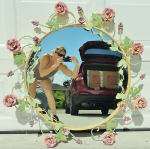 Large-Antique-Vtg-38-034-Ornate-Italian-Tole-Toleware-Pink-ROSES-Wall-Mirror-ITALY