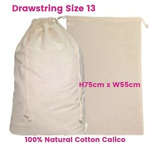 Large Calico Drawstring Bag Bulk Calico Bags Enviro Natural S13 H75 ... 958ec195ca3f5