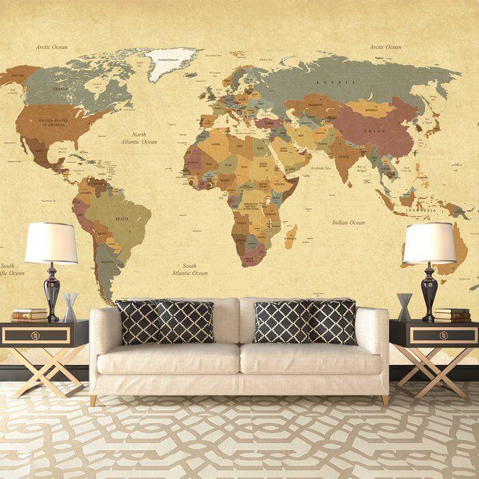 Vintage Weltkarte Wandbild Foto-Tapete Wohnzimmer Schlafzimmer Wohnkultur