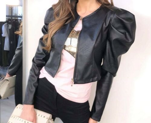 Women PU Faux Leather Blazer Bomber Tops Ladies Puff Sleeve Zip Cropped Jacket
