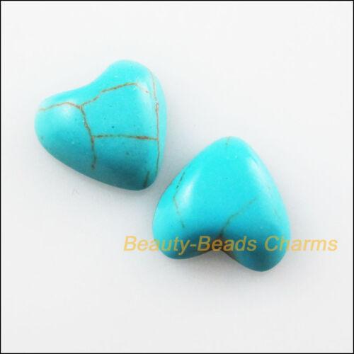 10Pcs bleu turquoise Breloques Facettes Coeur Strass flatback 16 mm