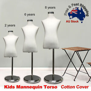 Adjustable-Cotton-Cover-Child-Form-Mannequin-Torso-Iron-Stand-Dummy-Model-Kids-O