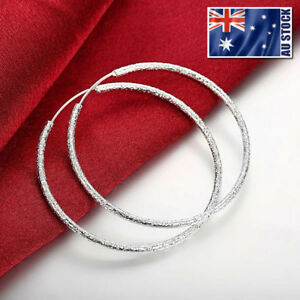 Hoop-Earrings-925-Sterling-Silver-Filled-Frosted-Large-Round-Drop-Dangle-Fashion