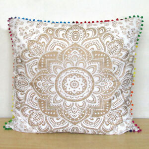 Enjoyable Large 24X24 Sofa Pillow Cover Decorative Floral White Gold Download Free Architecture Designs Grimeyleaguecom