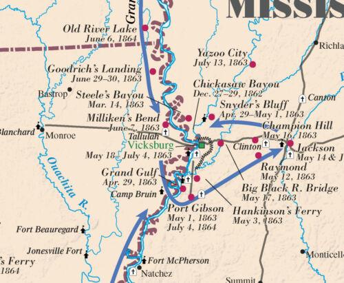 Civil War Battlefield Wall Map 35 x 52 Gloss Coating 150th Anniversary Edition