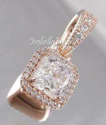 Timeless Elegance Authentic Pandora Rose Gold Cz Square Pendant Dangle Charm New Ebay