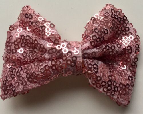 "Sequin Hair Bows 3/"" With Clip Sparkly Glittery Sequin Hair Bow Clips Slide"