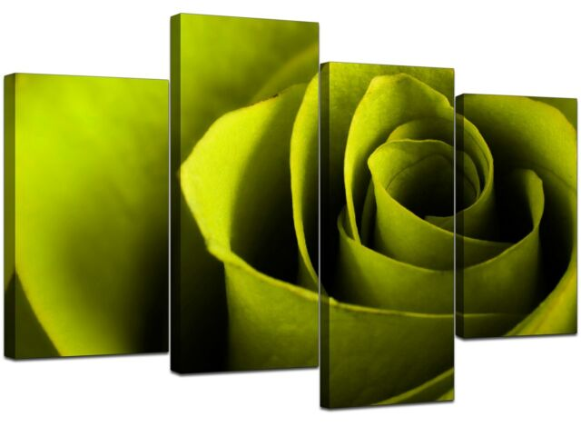 Large Lime Green Rose Floral Canvas Wall Art Pictures Prints XL 4110
