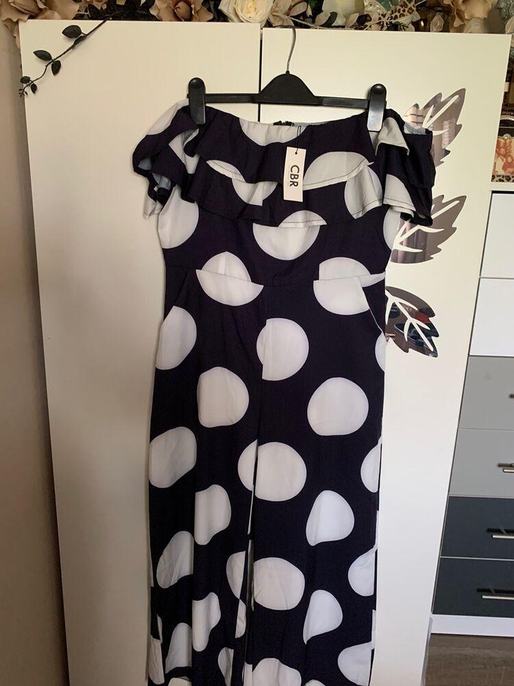 Bnwt Taille Xl Bleu Marine Et Blanc Polka Dot Combinaison Fit Taille 14/16