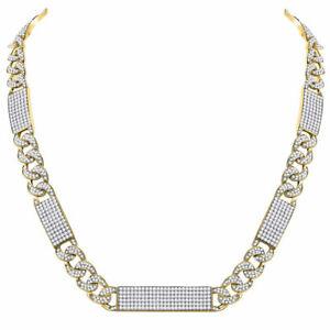 10k Gelbgold Herren Rund Diamant Kubanisch Link Rechteckig Eis Halskette 24-1/2