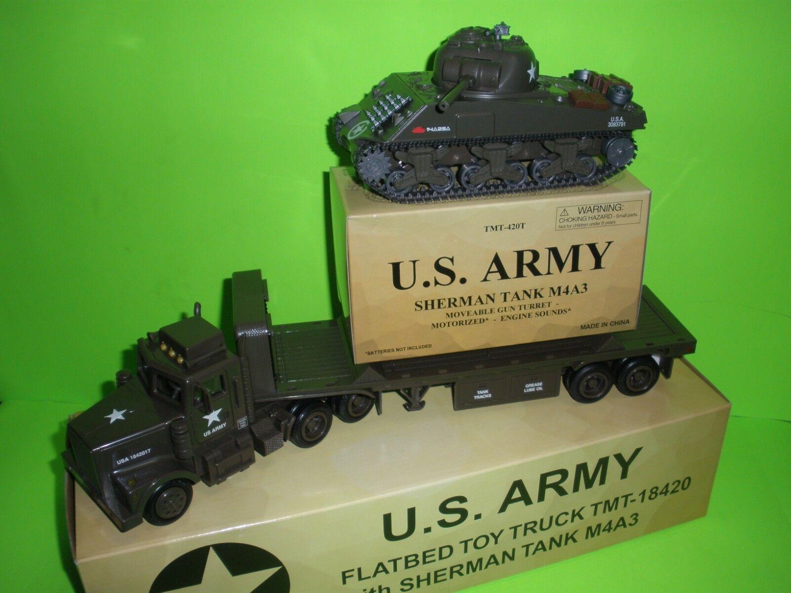 Militaire US Army char Sherman M4A3 Avec Transport Camion Taylor TMT-18420